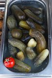 Cetrioli marinati in contenitori del metallo Alimento della via a Leopoli immagine stock libera da diritti