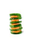Cetriolo e carota tagliati immagine stock