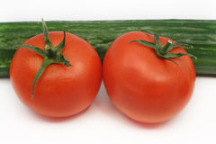 Cetriolo e pomodori Immagini Stock