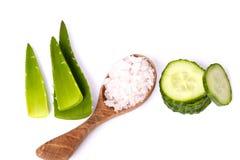 Cetriolo e sale marino verdi Immagini Stock