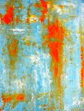 Teal et peinture orange d'art abstrait Photos stock