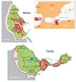 Ceuta and Melilla map Royalty Free Stock Photo