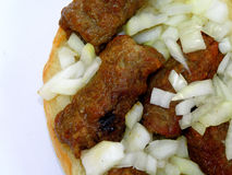 Cevap (kebab) with onion Royalty Free Stock Photography