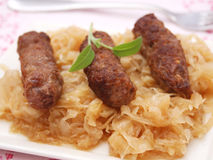 Cevapcici with cabbage. Some fresh cevapcici with cabbage stock photography