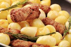Cevapcici and potatoes Stock Photos