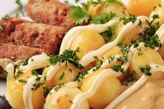 Cevapcici and potatoes Royalty Free Stock Images