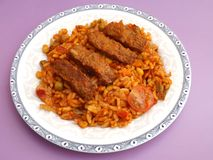 Cevapcici with rice Royalty Free Stock Photo
