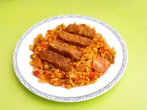 Cevapcici with rice Royalty Free Stock Image