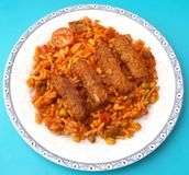 Cevapcici with rice Stock Image