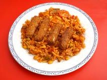 Cevapcici with rice Stock Photos