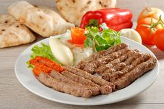 Cevapcici, a small skinless sausage cooked on the barbecue Stock Photography
