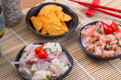 Ceviche金枪鱼和三文鱼 免版税库存图片