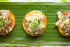 Ceviche στις κροτίδες Στοκ Φωτογραφία