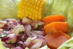 Ceviche com milho e a batata doce Imagem de Stock Royalty Free