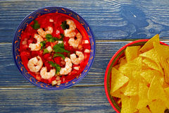 Ceviche de Camaron shrimp and mexican nachos Stock Photo