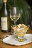 Ceviche delizioso con vino bianco Immagini Stock
