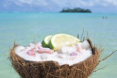 Ceviche Dish served in a coconut shell against islet in Muri lag Royalty Free Stock Photos