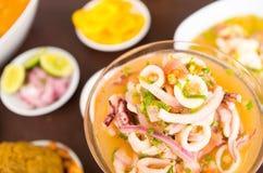 Ceviche espectacular del calamar y del pulpo, cebolla roja e ingredientes de la tubería del coriandro Fotos de archivo