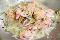 Ceviche marinated in pot Stock Photography