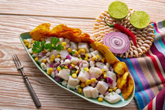 Ceviche Peruvian Recipe With Fried Banana Royalty Free Stock Photos