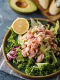 Ceviche is a traditional dish from Peru. Salmon marinated in lemon with fresh lettuce, avocado and onions. Peruvian food stock photos