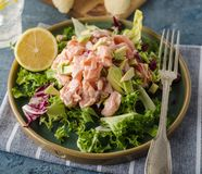 Ceviche is a traditional dish from Peru. Salmon marinated in lemon with fresh lettuce, avocado and onions. Peruvian food stock photography
