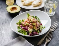 Ceviche is a traditional dish from Peru. Salmon marinated in lemon with fresh lettuce, avocado and onions. Peruvian food royalty free stock photo