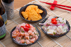 Ceviche Tuna and salmon. Japan food background close asian Royalty Free Stock Photo
