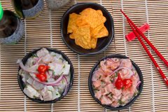 Ceviche Tuna and salmon. Japan food background close asian Royalty Free Stock Photography