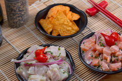 Ceviche Tuna and salmon. Japanese food background close diner Royalty Free Stock Photo