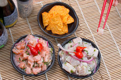 Ceviche Tuna and salmon. Japanese food background close diner Royalty Free Stock Photography