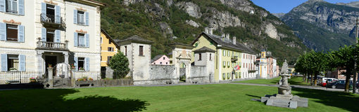 Cevio老村庄在Maggia谷的 库存图片