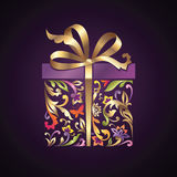 Cextor wrapped floral ornate present box with bow Royalty Free Stock Photography