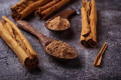 Ceylon kanelbruna pinnar och pulver royaltyfri bild