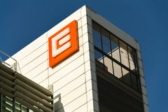 CEZ group company logo on headquarters building Royalty Free Stock Photo