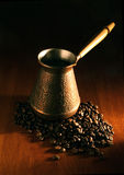 Cezva And Coffee Beans Stock Photography