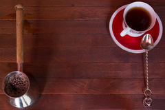Cezve,杯子,匙子 免版税图库摄影