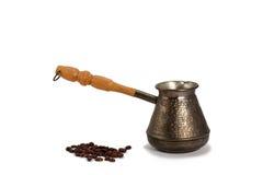 Cezve с кофейными зернами Стоковое Фото