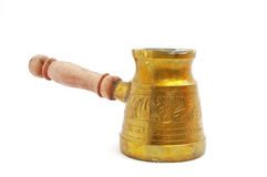 Cezve. Old copper coffee pot with the wooden handle Stock Images