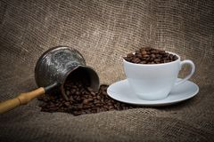 Cezve And Cup With Freshly Roasted Coffee Beans Royalty Free Stock Photography