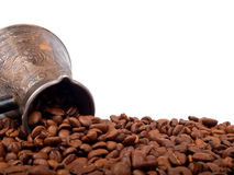 Cezve and coffee beans Stock Photography