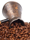 Cezve and coffee beans Royalty Free Stock Image