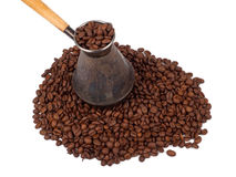 Cezve and coffee beans Royalty Free Stock Images