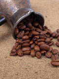 Cezve and coffee beans Royalty Free Stock Photos