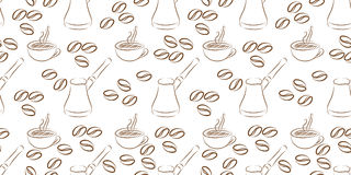 Cezve coffee seamless. On white background. vector illustration Royalty Free Stock Images