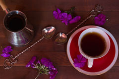 Cezve, cup, spoon Royalty Free Stock Photo