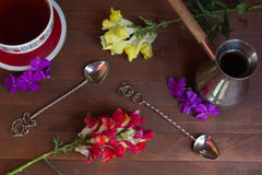 Cezve, cup, spoon Stock Photography