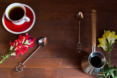 Cezve, cup, spoon Royalty Free Stock Images
