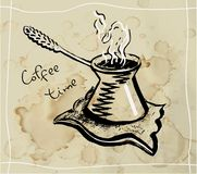 Cezve del café Dibujo lineal libre illustration