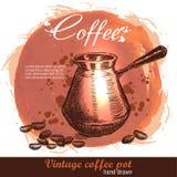 Cezve dibujado mano del pote del café turco del vintage con los granos de café Foto de archivo libre de regalías